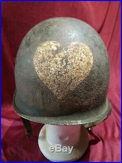 Rare casque us 3eme DI complet provence avec ses insignes et le coeur