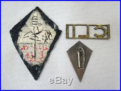 Rare ensemble Insignes militaires commandos Ponchardier CLI + tissu