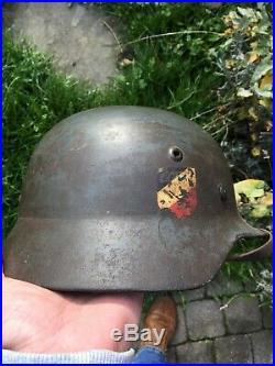 Superbe casque allemand modèle 1935 Double décalc luftwaffe insigne 1er type