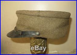 Très beau et rare képi modèle Troupe 1930 d' Infanterie en drap kaki. A voir