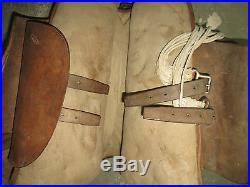 Très belle et rare selle de Cavalerie Française, années 30-40, cuir brun clair