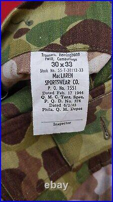 Trousers US HBT WW2 Camouflage Normandie élite pas casque