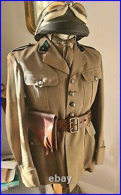 Uniforme officier 5eme GRDI ww2 casque vareuse culotte mastic ceinturon etui