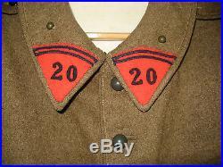 Veste Troupe Vareuse Toutes Armes Modèle 1920/35 dat 1937 20 Régiment Artillerie