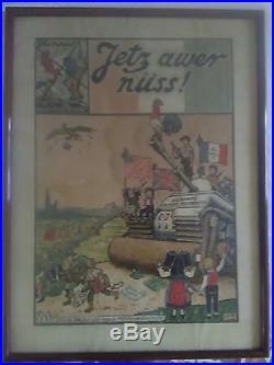 WW2 Affiche originale d' Hansi, La grande Balayeuse JETZ AWER NUSS 1945
