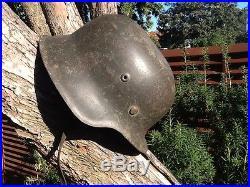 Ww2 Casque Allemand Stahlelm Helmet Authentique