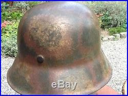 WW2 CASQUE ALLEMAND WH CAMOUFLAGE NORMANDIE-ARDENNES 44 stahlhelm helm helmet