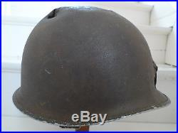 Wwii Us Army Coque Casque M1 Pattes Fixes Avec Impacts Materiel Original